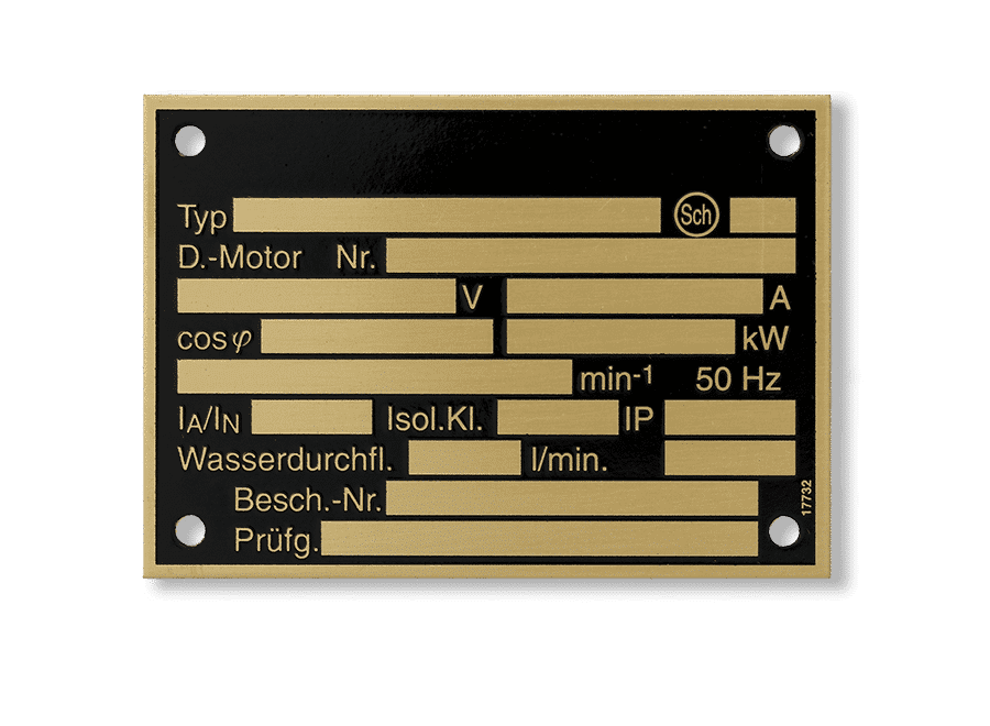 Brass nameplate - Brass nameplate. Ground recessed etched and black lacquered. Depending on the customer's post-processing, this can be achieved with or without protective lacquer by means of impact numbers or laser.