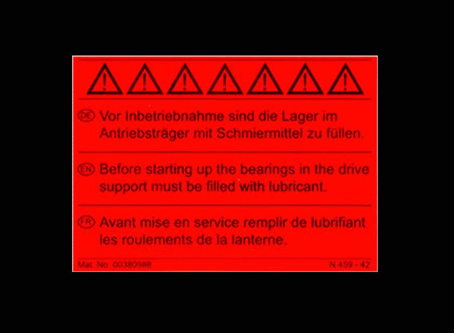Folienschild rot fluoreszierend als Warnhinweis zur Maschinenkennzeichnung