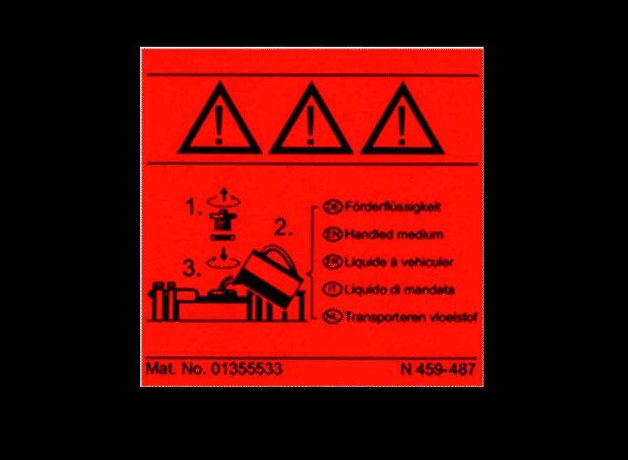 Folienschild rot fluoreszierend als Bedienhinweis