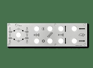 Frontplatte aus Aluminium bedruckt im Eloxalunterdruckverfahren
